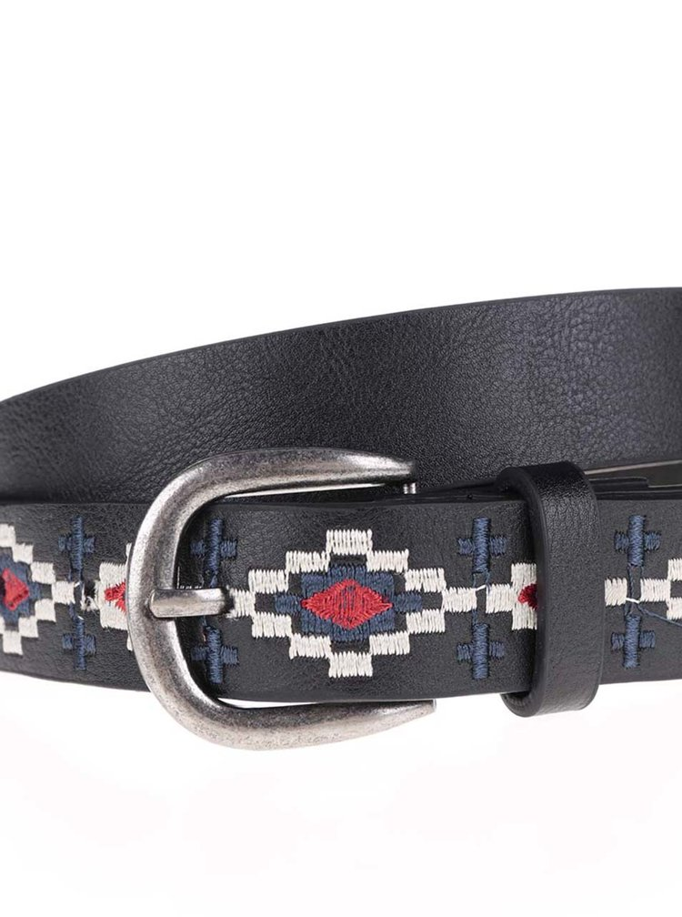 Černý pásek s vyšívaným vzorem Haily's Sakia