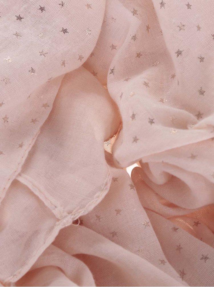 Esarfa roz pal  Haily´s Loop Stars cu imprimeu