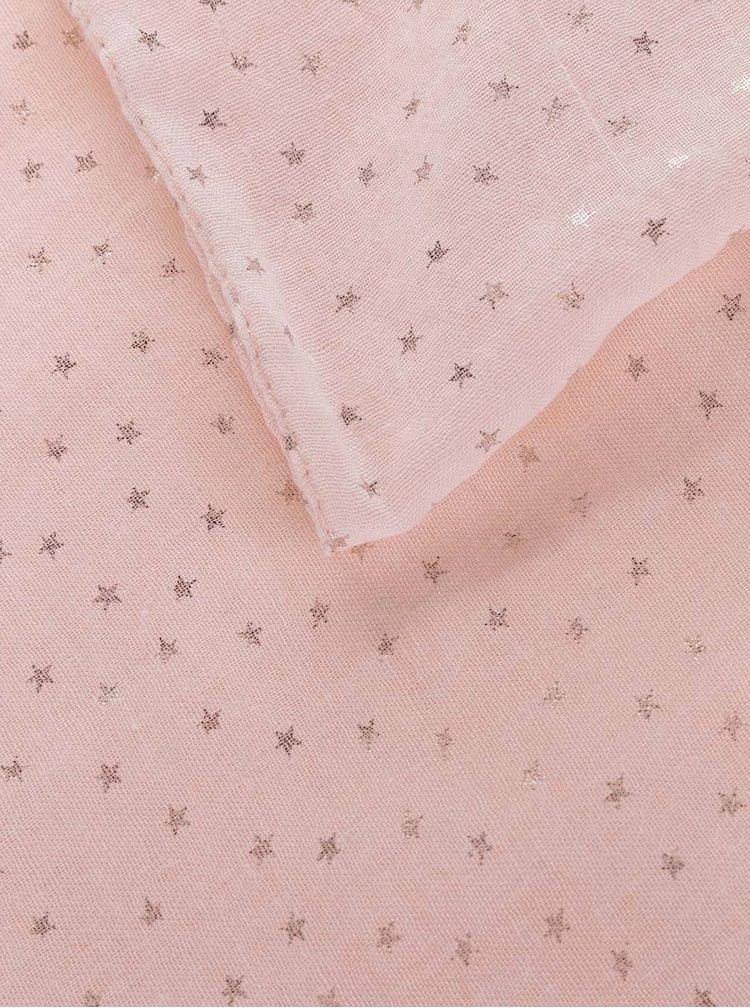Světle růžový dutý šátek s hvězdičkami Haily's Loop Stars