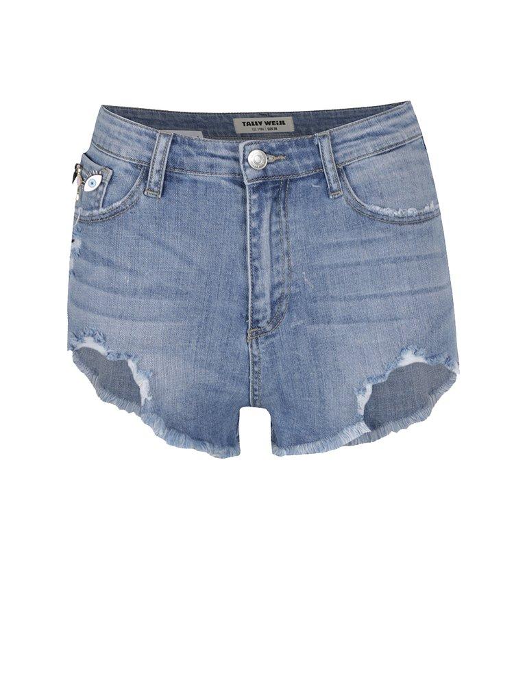 Světle modré džínové kraťasy s vysokým pasem a plastovými odznaky TALLY WEiJL