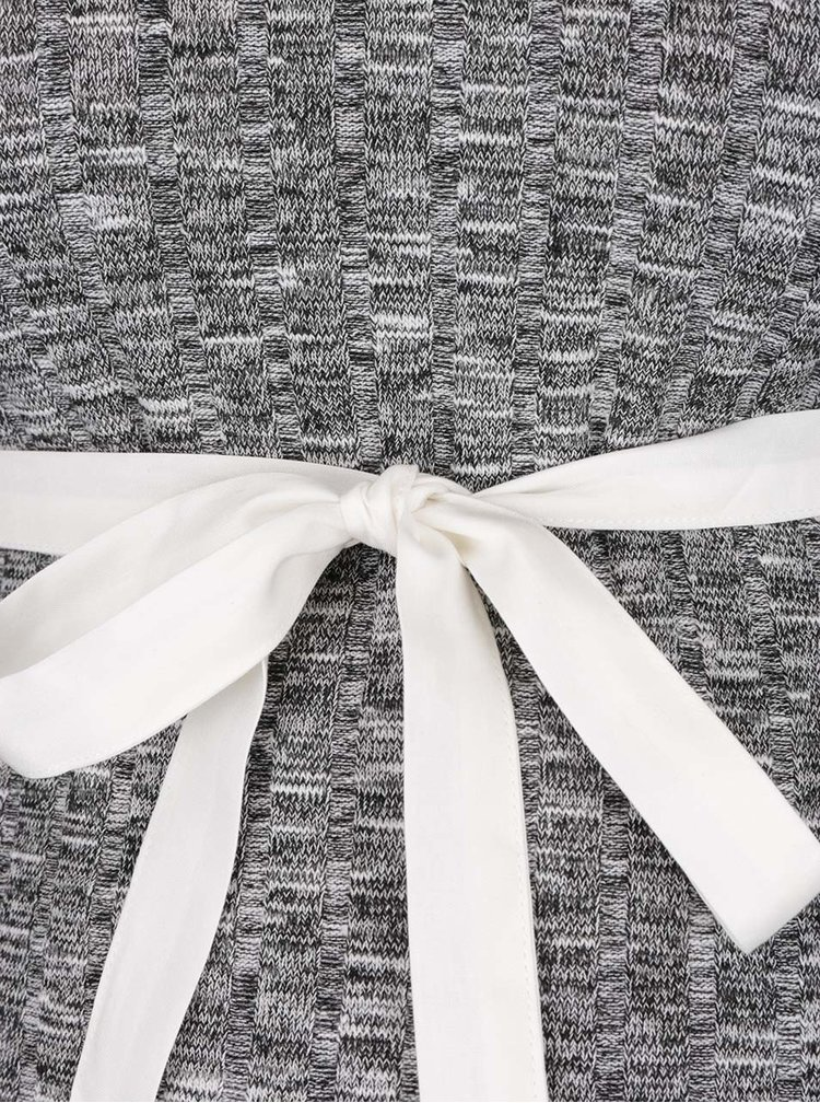 Šedý žíhaný těhotenský svetr s límečkem Dorothy Perkins Maternity
