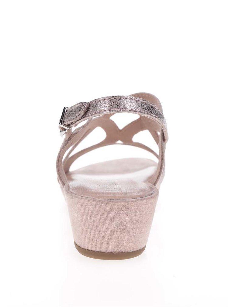 Růžové kožené sandály na nízkém klínku Tamaris