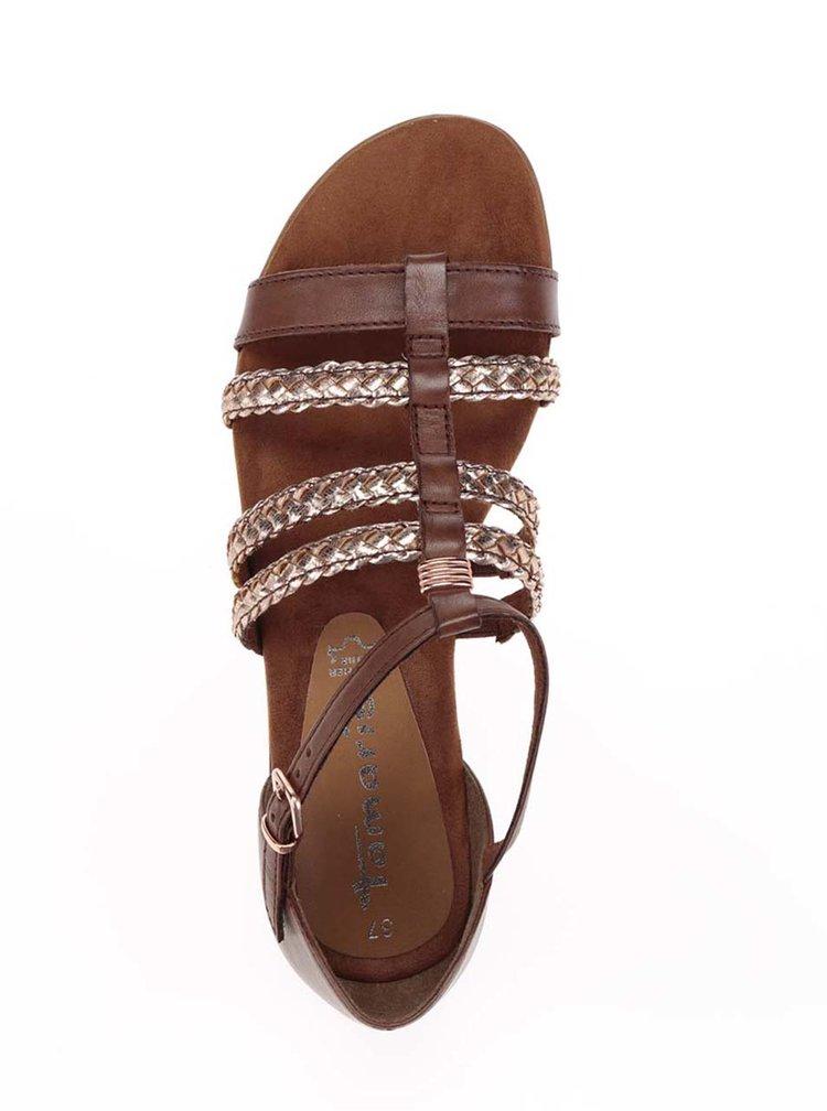 Sandale maro Tamaris cu barete aurii împletite