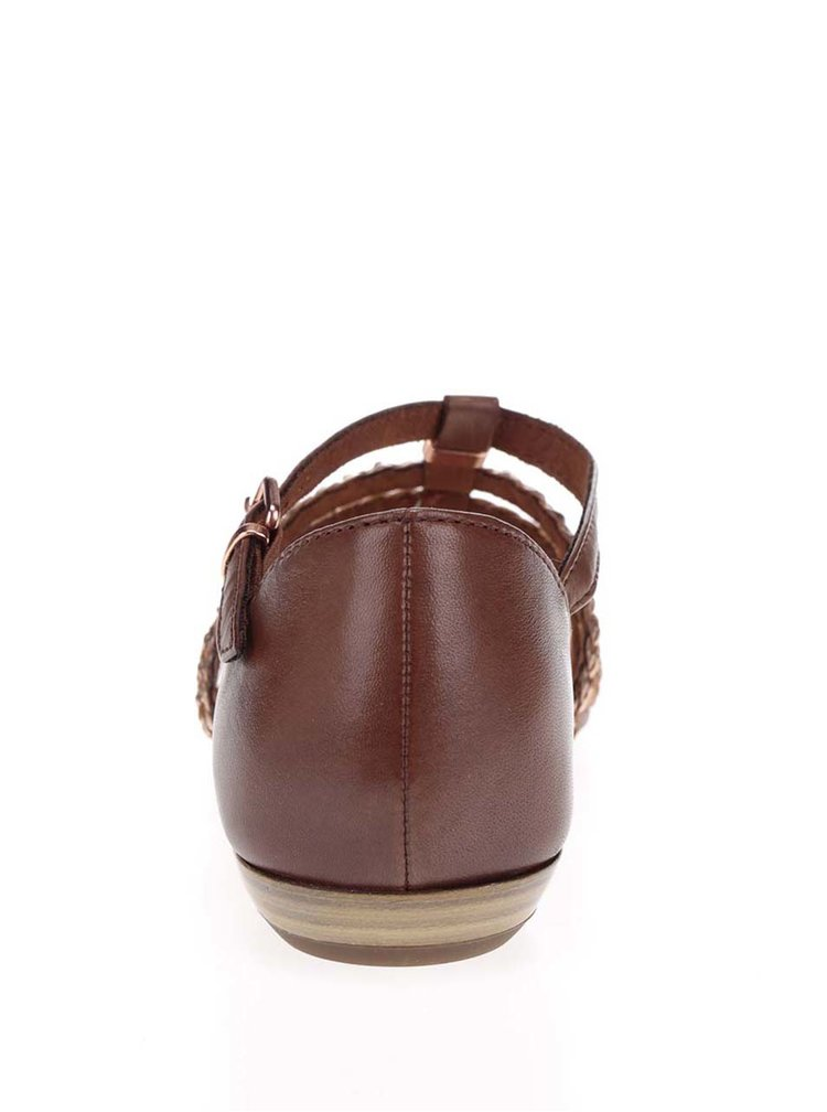 Hnědé kožené sandály s pásky ve zlaté barvě Tamaris