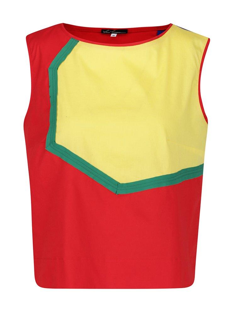 Žluto-červená volná halenka bez rukávů Lena Criveanu