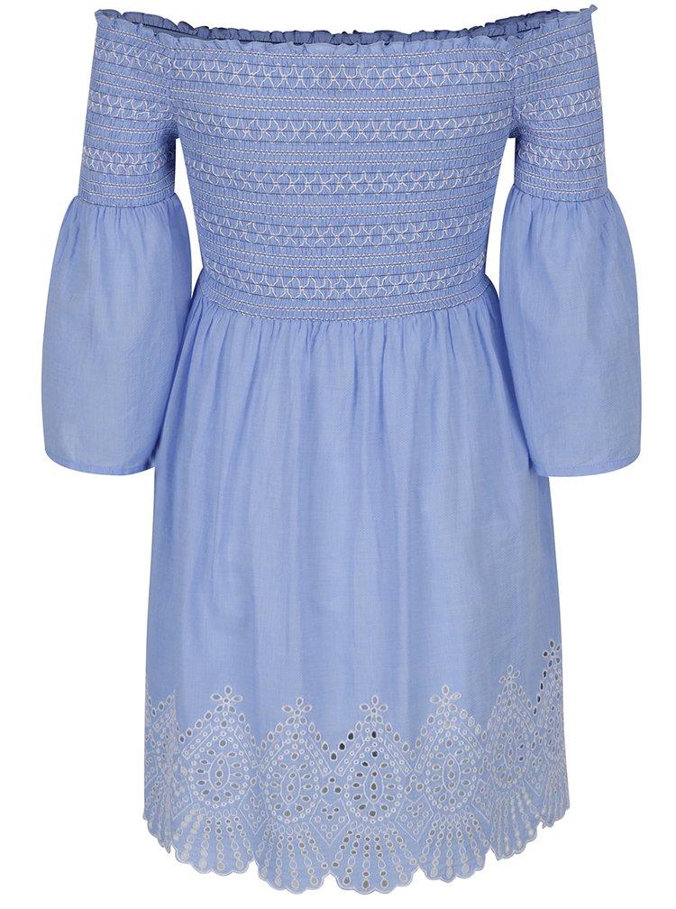 Modré šaty se zvonovými rukávy Miss Selfridge