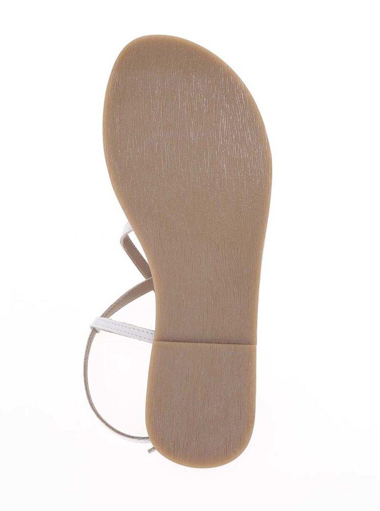 Krémové kožené sandály s pásky ve stříbrné barvě Tamaris