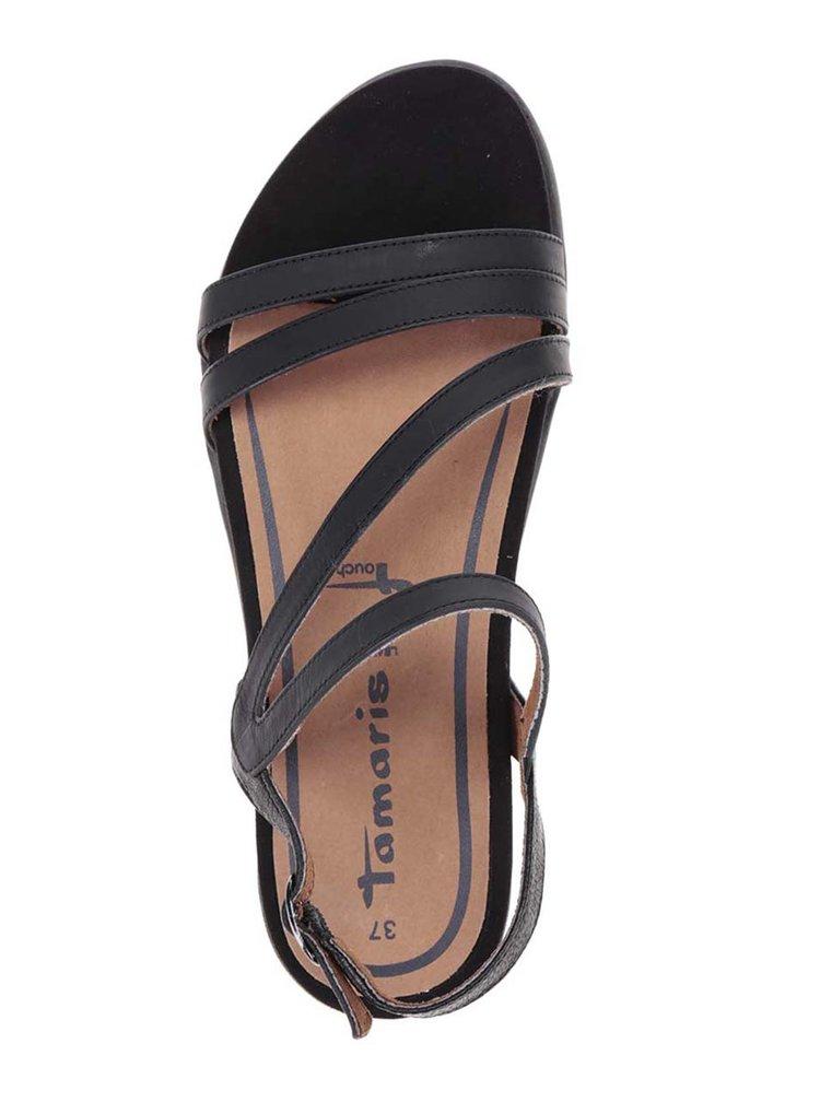 Černé kožené sandály na platformě Tamaris