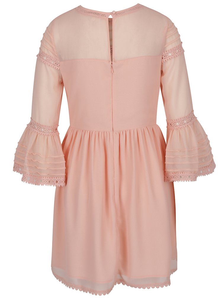 Světle oranžové šaty se zvonovými rukávy Miss Selfridge