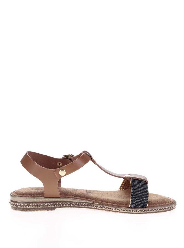 Hnědé kožené sandály s džínovým páskem Tamaris