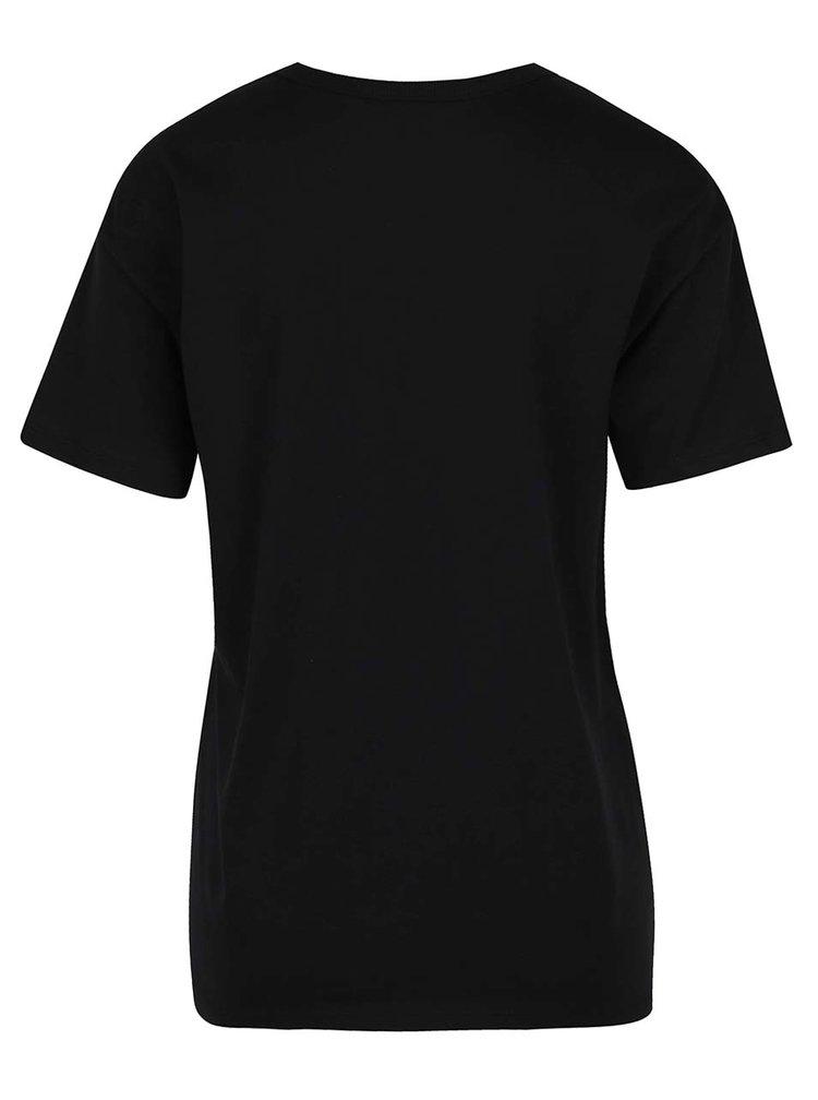 Tricou negru choker cu print rock  Miss Selfridge