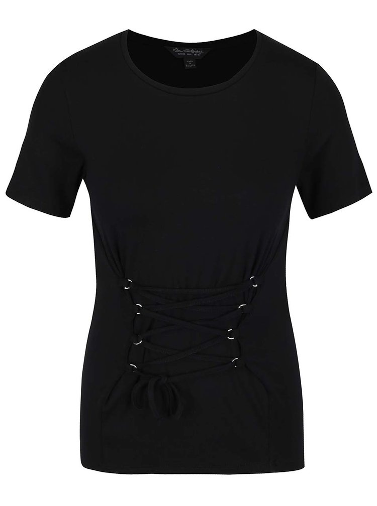 Tricou negru cu șiret decorativ Miss Selfridge