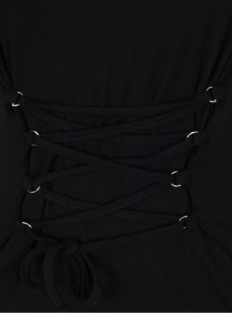 Černé tričko se zavazováním v pase Miss Selfridge