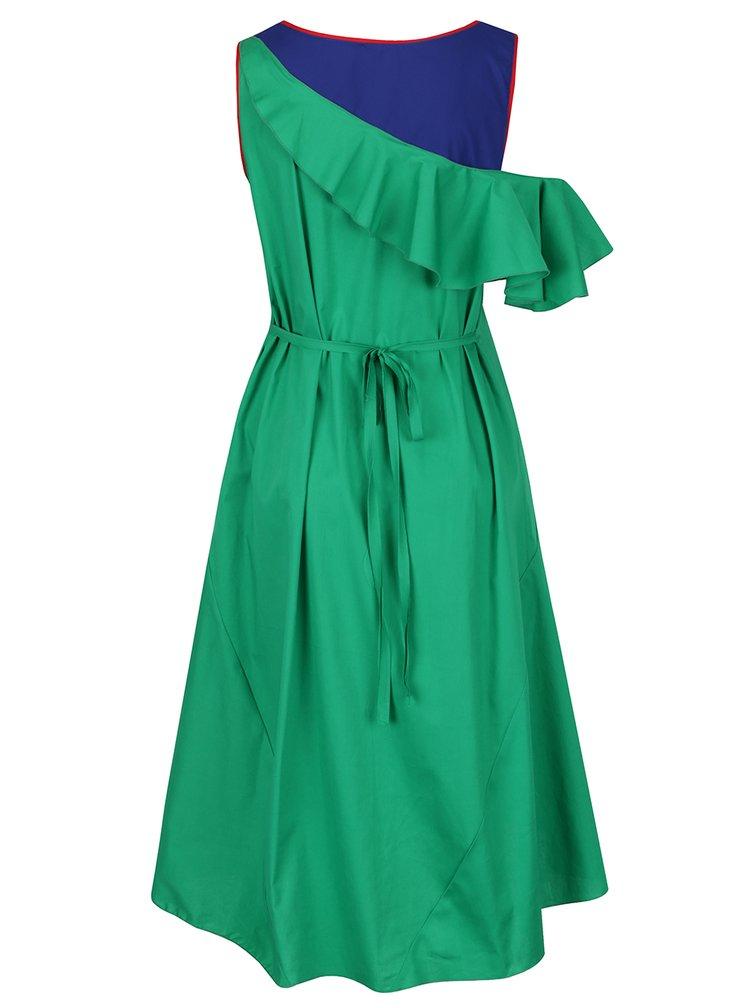Modro-zelené asymetrické šaty s volánem Lena Criveanu
