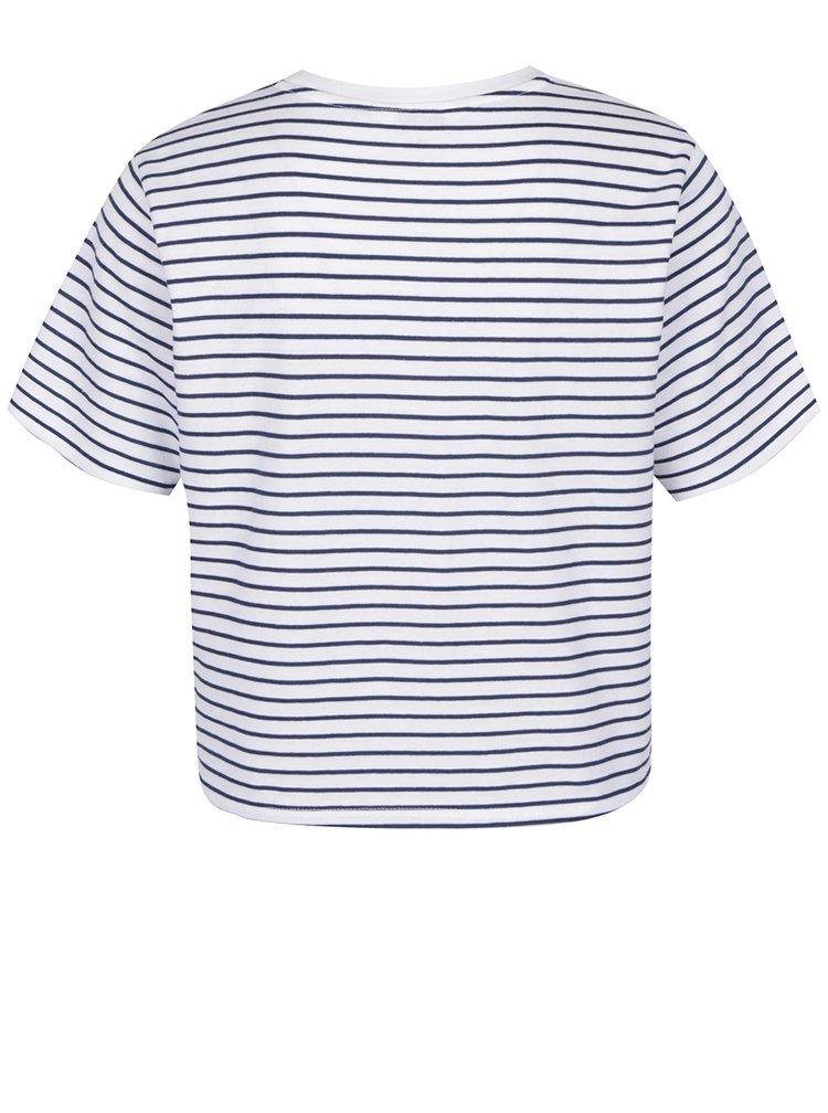 Modro-bílé pruhované tričko s výšivkou Miss Selfridge