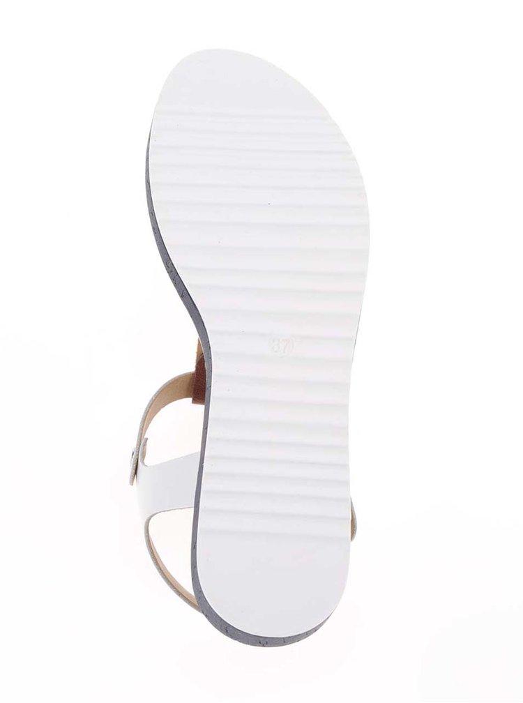 Kožené sandály v modré, hnědé a bílé barvě Tamaris
