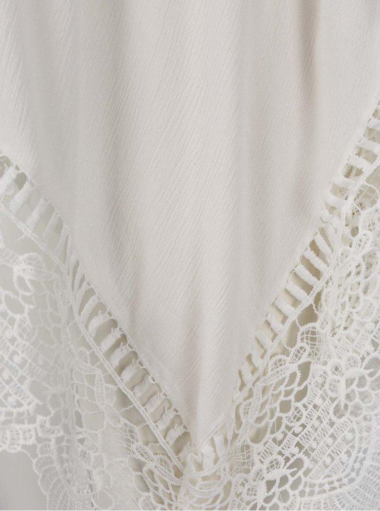 Bluză crem lungă Miss Selfridge cu bretele subțiri