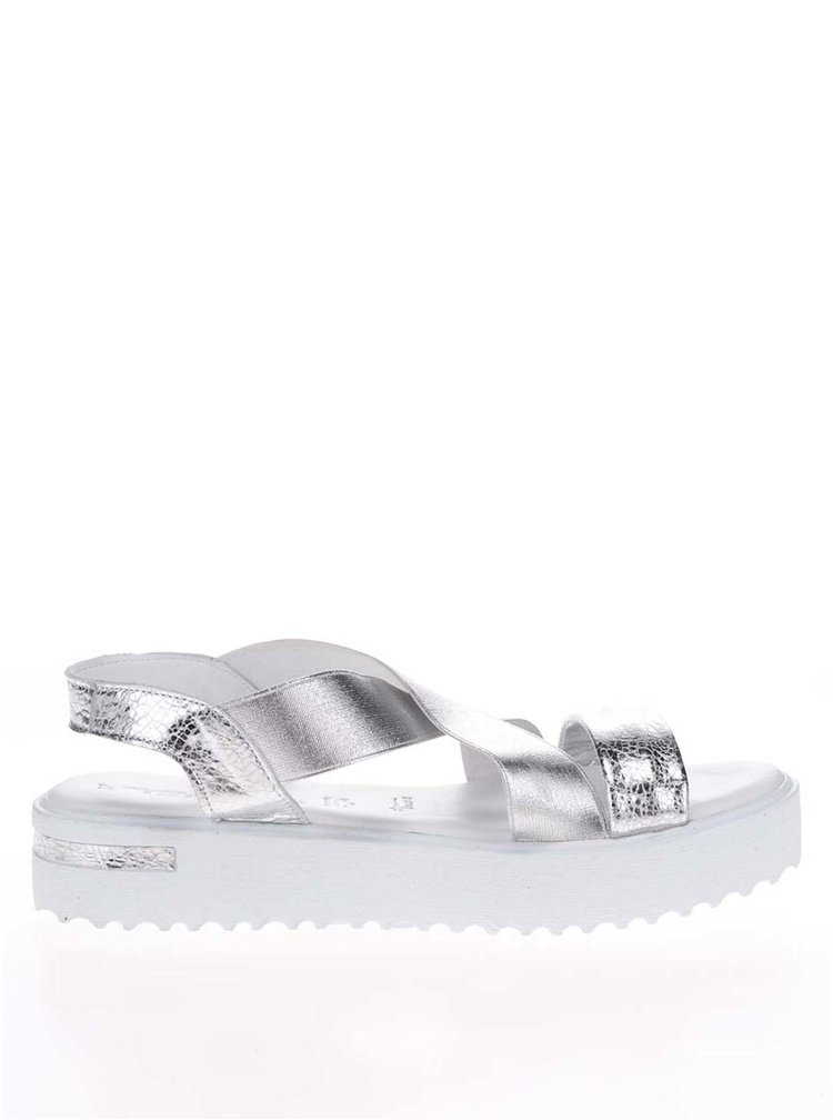 Sandale argintii din piele Tamaris cu platforma si barete elastice