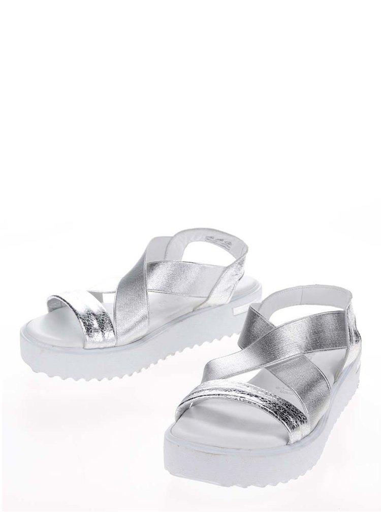 Sandale argintii din piele Tamaris cu platformă și barete elastice