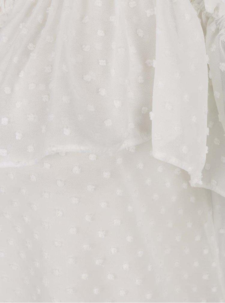 Bílá šifónová halenka s odhalenými rameny Miss Selfridge