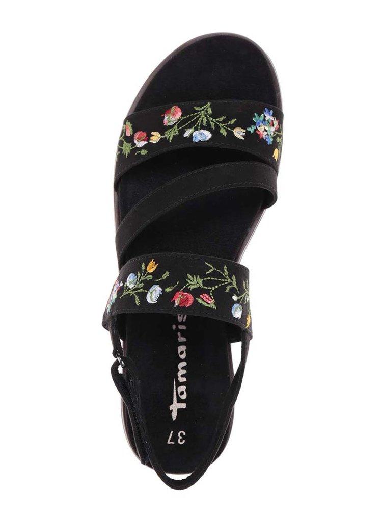 Černé sandály na platformě s vyšívkou Tamaris