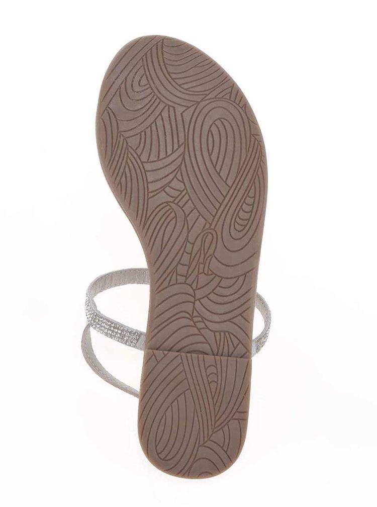 Kožené sandály ve stříbrné barvě s kamínky Tamaris
