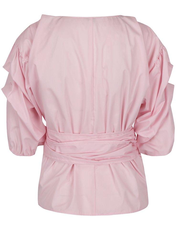 Bluză roz Miss Selfridge cu falduri și panglică în talie