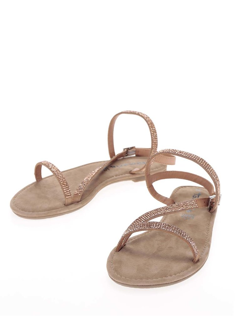 Hnědé kožené sandály s kamínky v růžovozlaté barvě Tamaris