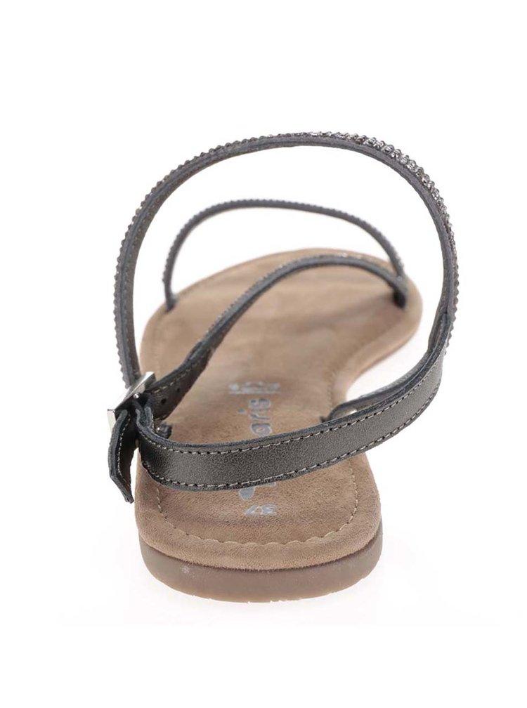 Sandale gri&maro din piele Tamaris cu ștrasuri argintii