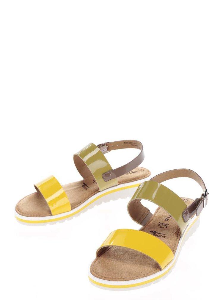 Kožené sandály ve žluté, zelené a hnědé barvě Tamaris