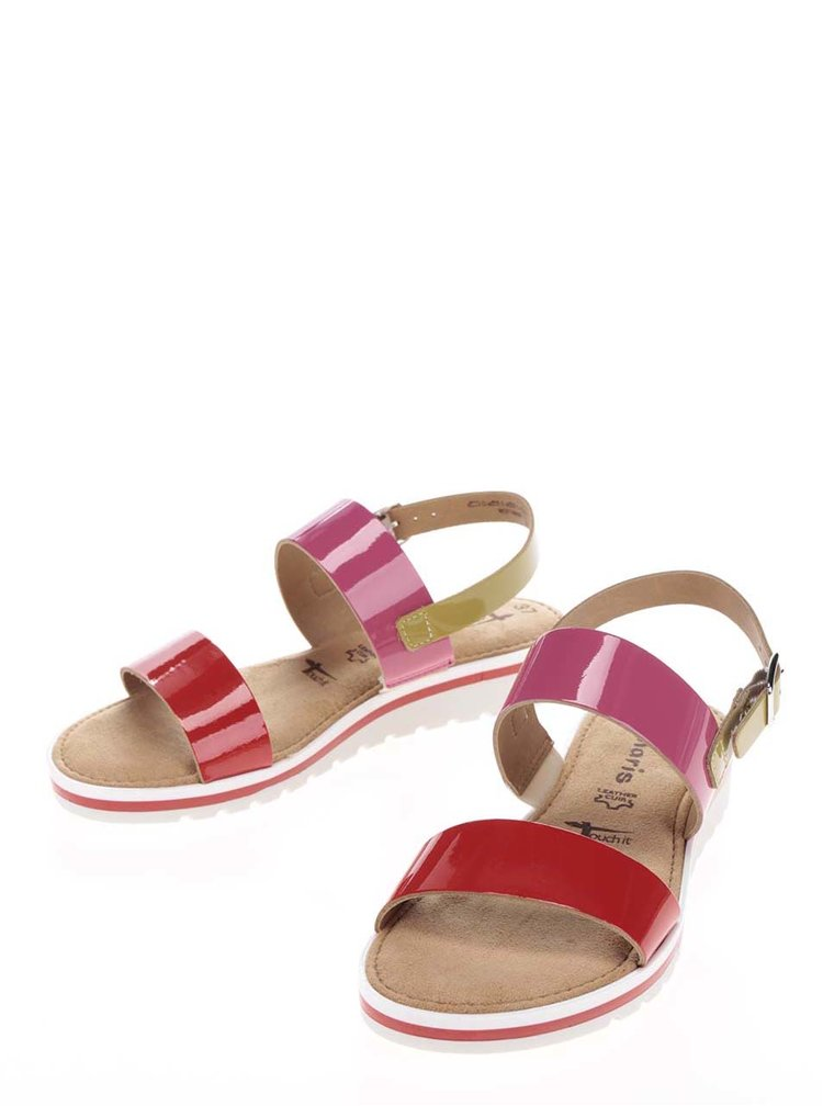Kožené sandály v červené, růžové a zelené barvě Tamaris