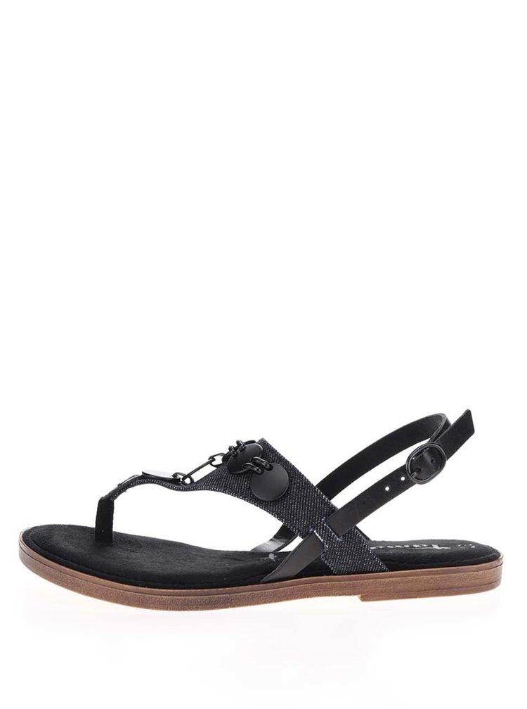 Černé kožené sandály s aplikací Tamaris