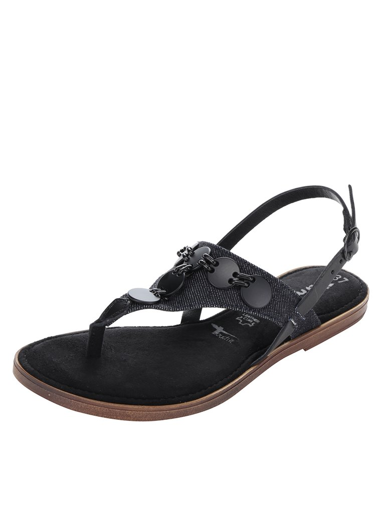 Sandale negre flip-flop din piele și denim Tamaris