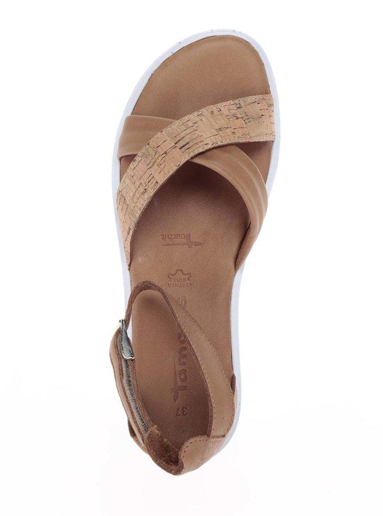 Sandale maro&albTamaris cu platforma si calcai acoperit