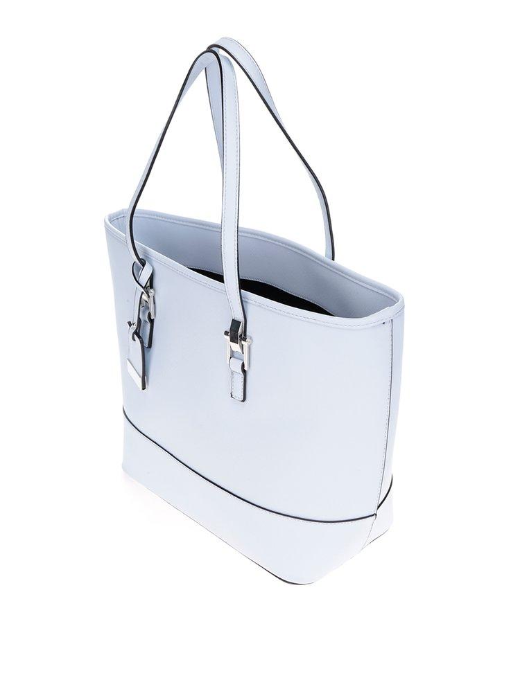 Modrá kabelka do ruky s detaily ve stříbrné barvě Miss Selfridge