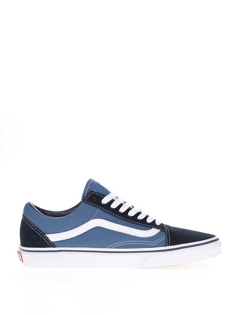 Pantofi sport alb&albastru  VANS Old Skool cu detalii din piele întoarsă