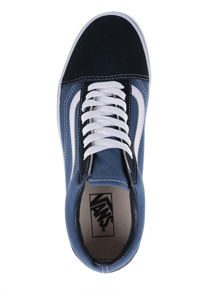 Bílo-modré pánské tenisky se semišovými detaily VANS Old Skool