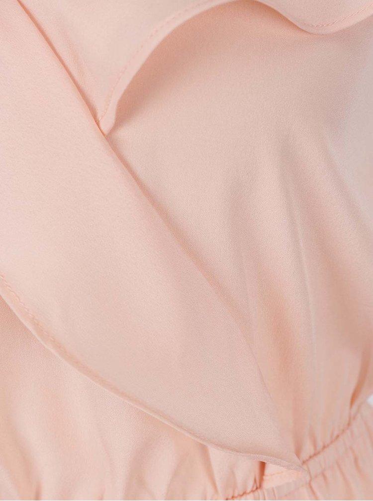 Top roz pal TALLY WEiJ cu volan decorativ