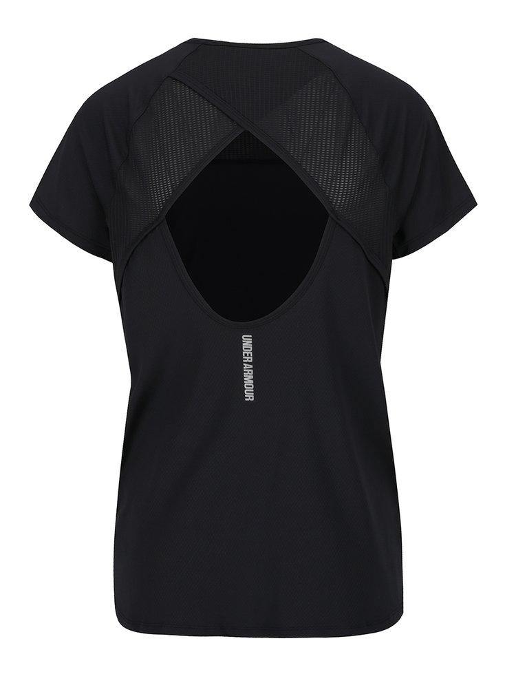 Černé dámské funkční tričko s výstřihem na zádech Under Armour Fly By