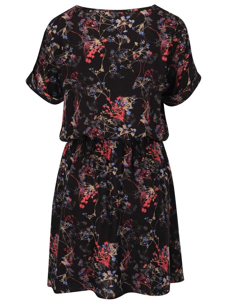 Černé šaty s květovaným potiskem Jacqueline de Yong Liva