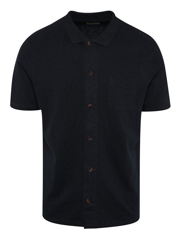 Tmavě modré triko s knoflíky a límečkem Selected Homme Hras