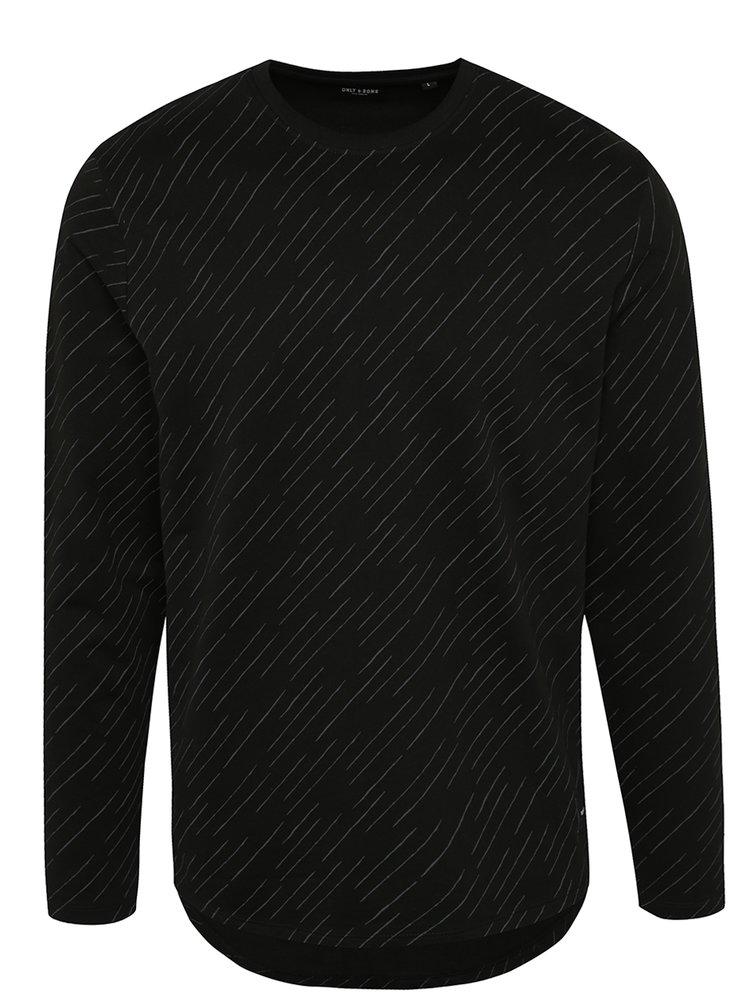 Černé vzorované triko s dlouhým rukávem ONLY & SONS Van