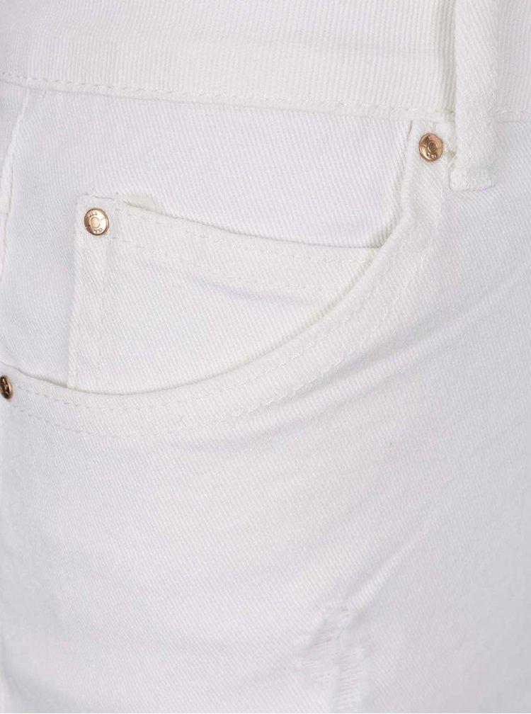 Fustă scurtă alb fildeș din denim VILA Juka