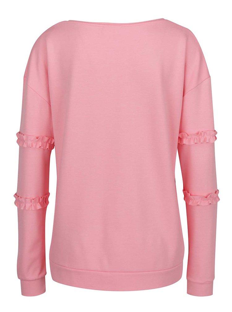 Bluza roz cu maneci lungi si volanase VILA Hasa