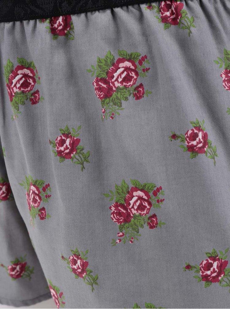 Šedé dámské trenýrky s potiskem růží Represent