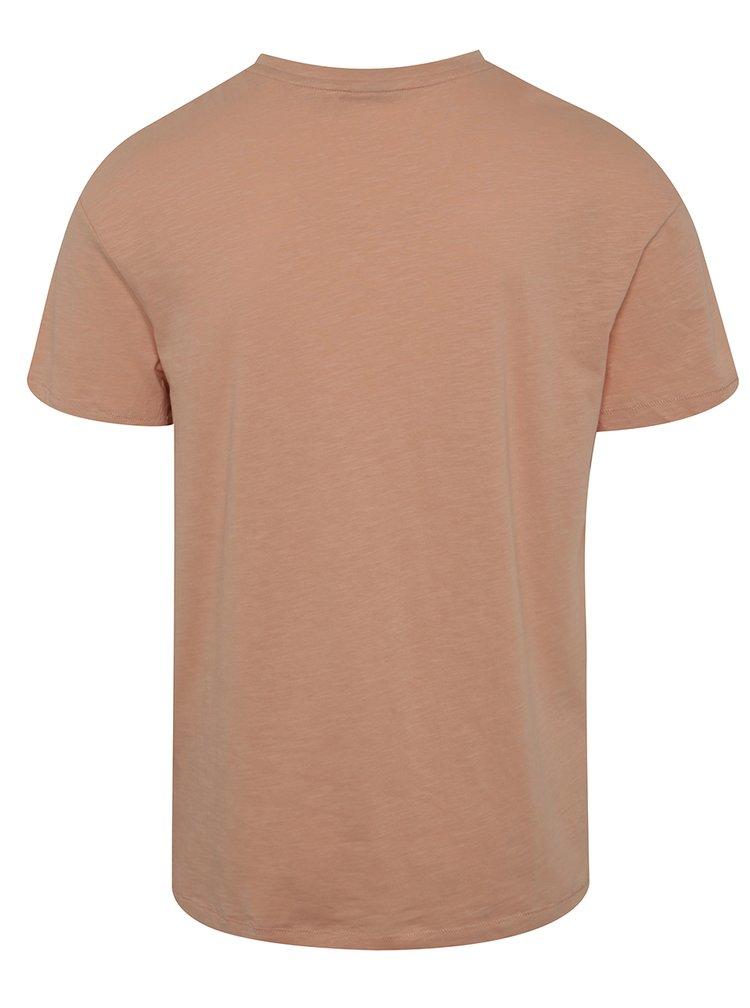 Tricou roz deschis Jack & Jones Costa cu broderie