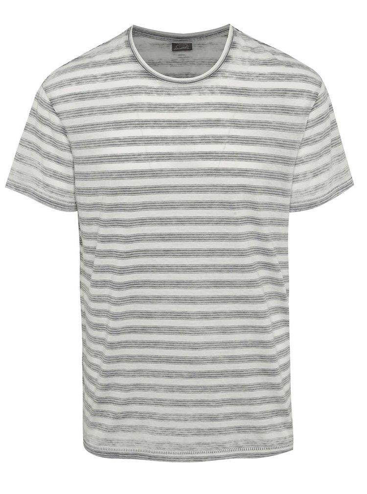 Bílé pruhované tričko Jack & Jones Burn