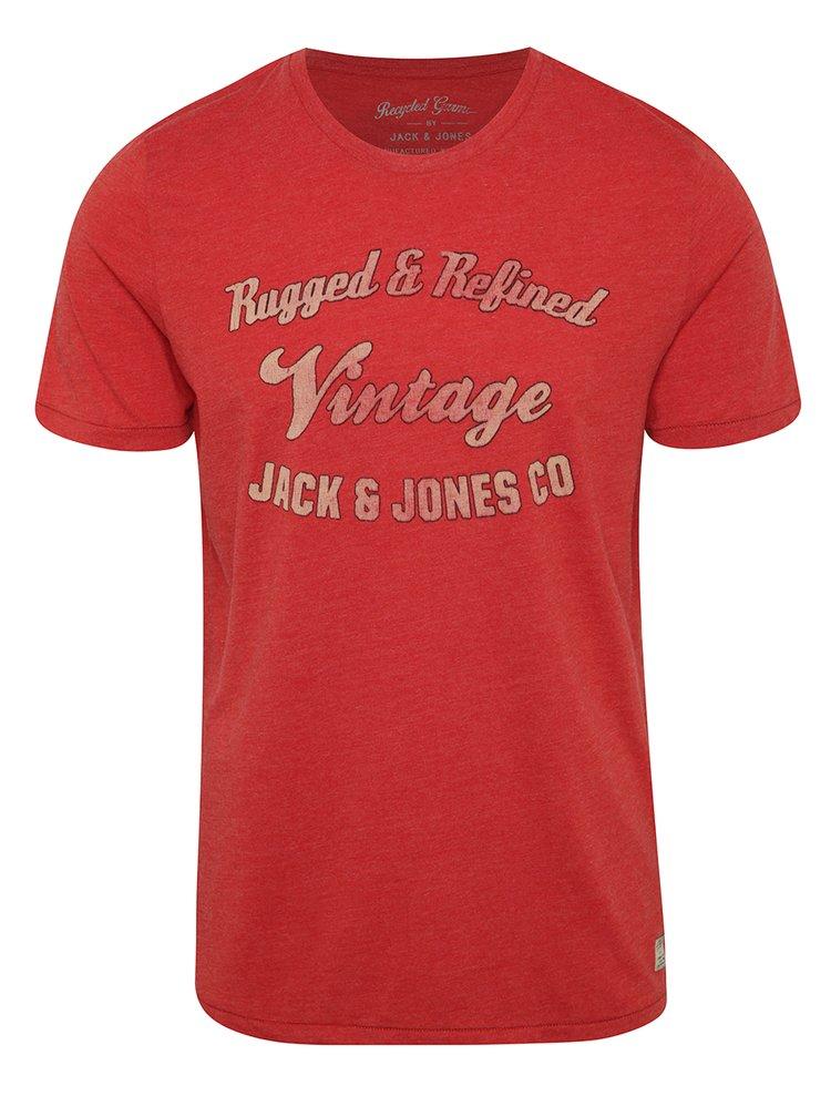 Tricou roșu Jack & Jones Recycle cu text