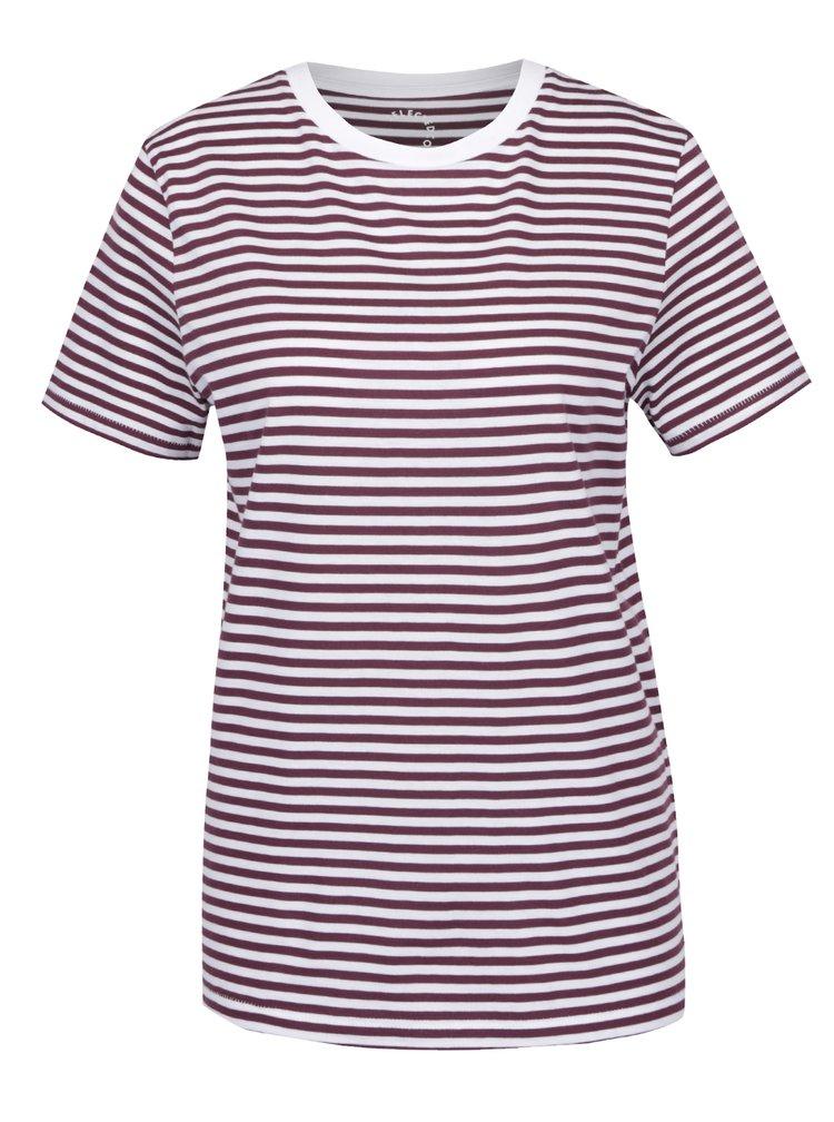 Krémovo-vínové pruhované basic tričko Selected Femme My Perfect