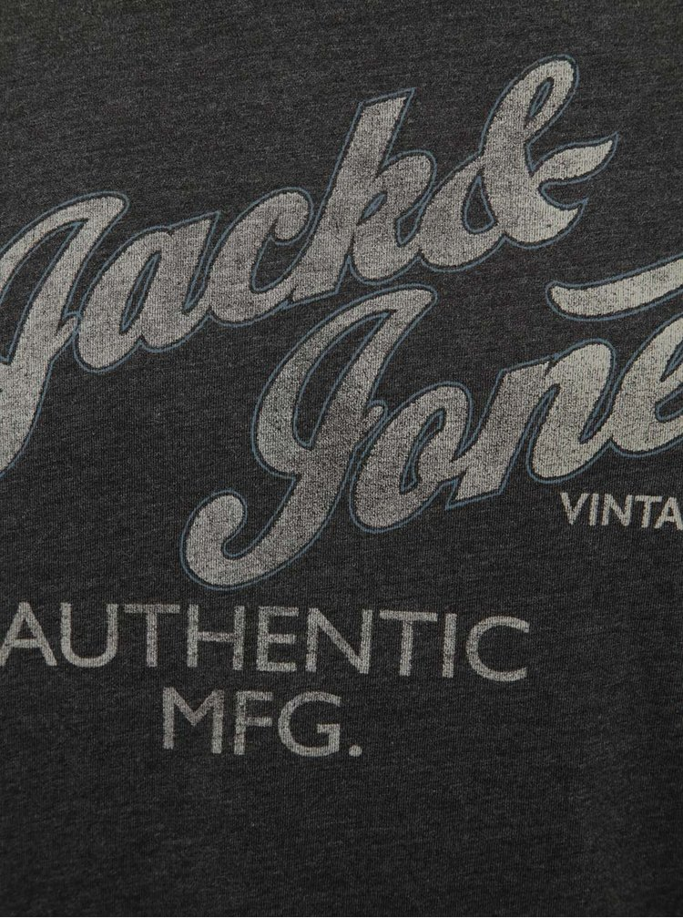 Tricou gri închis melanj Jack & Jones Recycle cu text